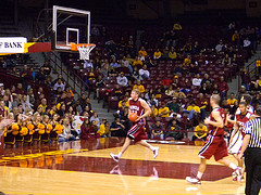 Justin Stommes taking off on the fast break