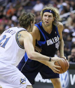 Dirk Nowitzki is one of the top Centers in the NBA. Utilising a range of different offensive skills such as an extended shooting range (Photo Source: Keith Allison)